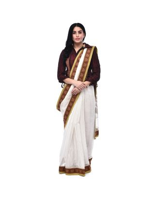 White and Gold Zari Weave Saree