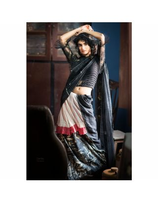 Black Kota Silk Saree with Katha Work