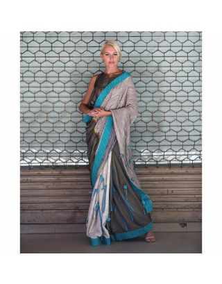 Blue Silk Tassels Pompom Saree