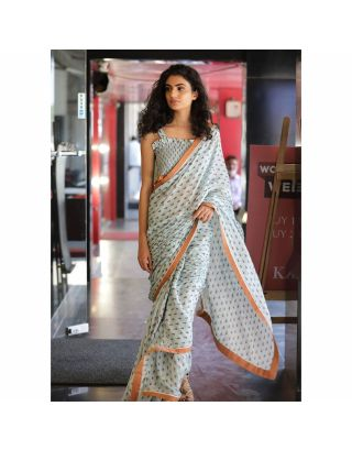 Sky Blue Cotton Silk Printed Saree