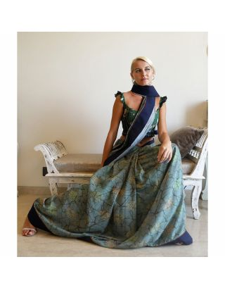 Blue Silk Batic Printed Saree
