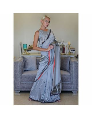 Grey Satin Georgette Saree