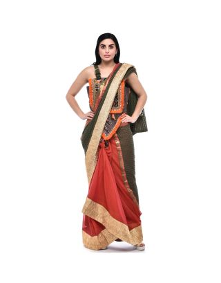 Orange Knot and Soft Kota Saree with Gota Border