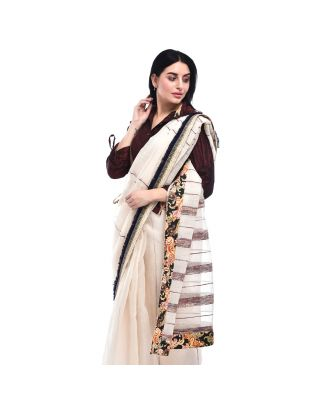 White Khesh Tread Weave Saree