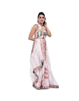 White Stripped Mulmul Saree