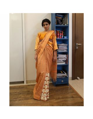 Yellow Umbrella Printed Saree