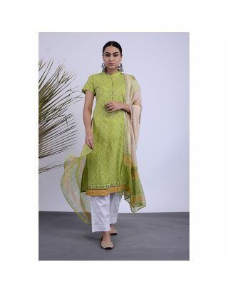 Green Printed Kurta with Pants and Duppatta