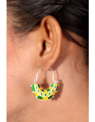 Green Yellow Geometrical Silver Hoops