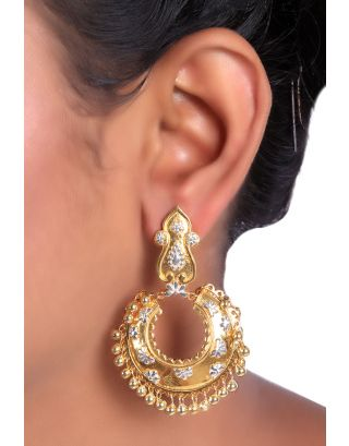 Floral Embossed Gold Silver Chandbali