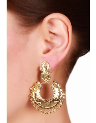 Floral Embossed Gold Plated Chandbali