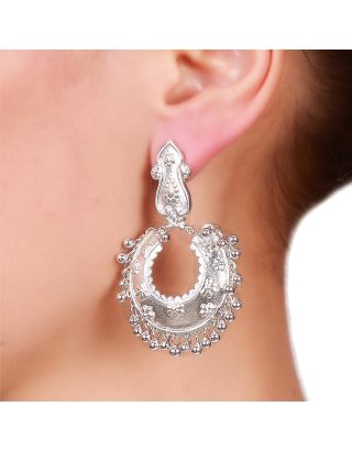 Floral Embossed Silver Chandbali