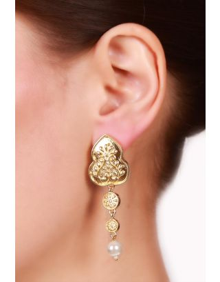Gold Plated Floral Pearl Drop Earrings