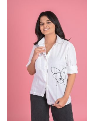 Face Embroidered  shirt