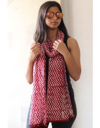 Red Hand-Dyed Stole