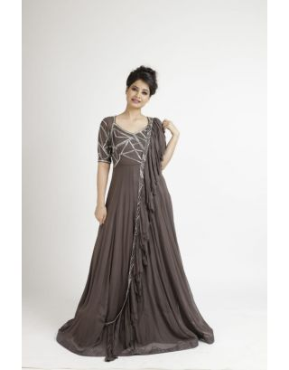 Brown Handwork Gown with Ruffled Dupatta
