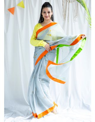 Grey Handpainted Tissue Silk Sarees