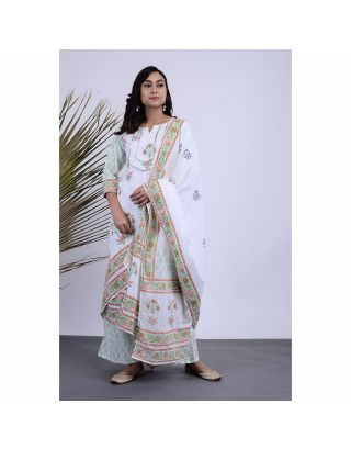 White Floral Printed Kurta Palazzo Set with Dupatta