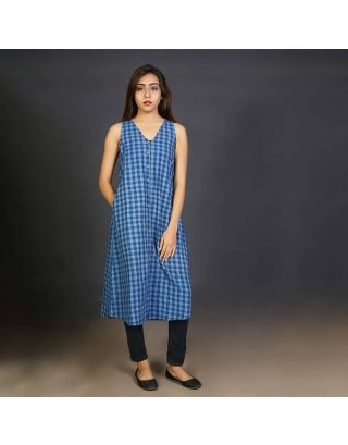 Blue Checkered Shrug cum Tunic