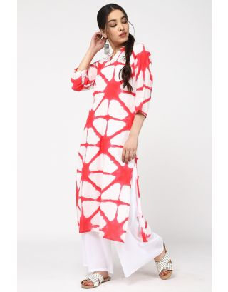 White & Pink Eye Catching Kurta