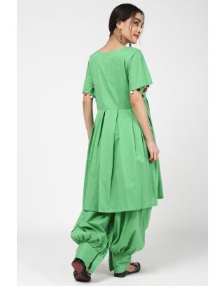 Green Cotton Kurta Set