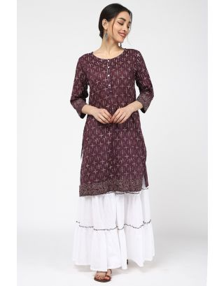 Wine Printed Cotton Kurta