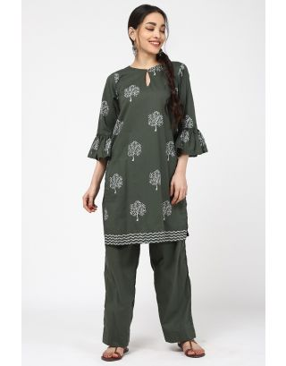 Green Spray Printed Kurta