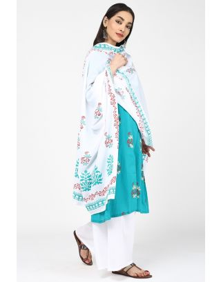 Teal and White Cotton Dupatta
