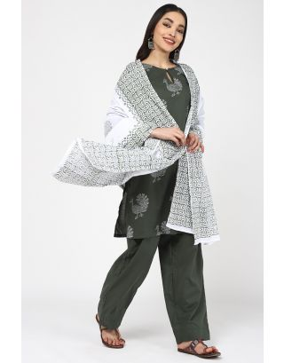 Green Peacock Printed Cotton Dupatta