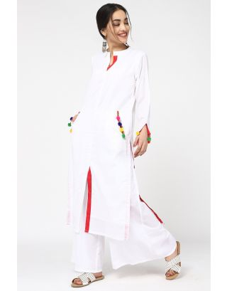 White & Red Kurta