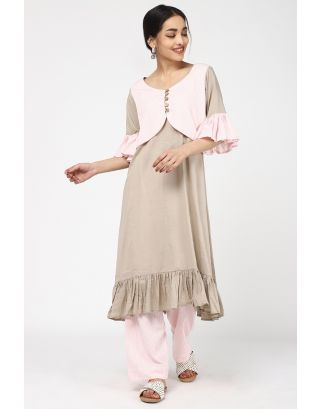 Beige Cotton Kurta Set
