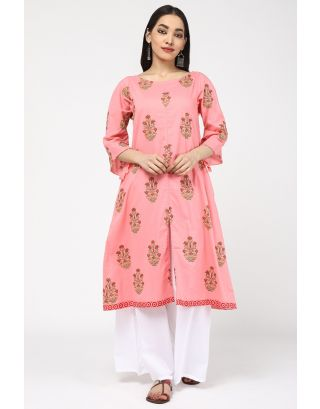 Pink Printed Cotton Kurta