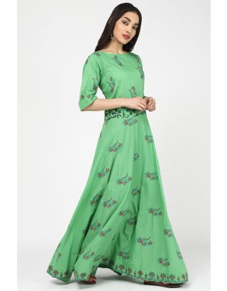 Green Valley Long Printed Dress