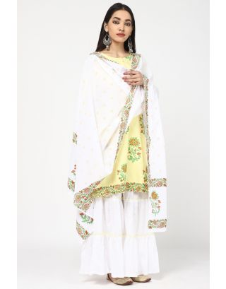 Yellow & White Blossom Cotton Sharara Set