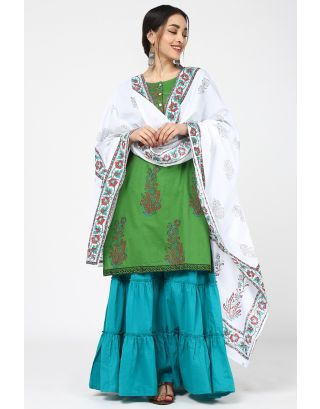 Green Flower Printed Sharara Set