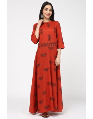 Red Leaf Cotton Printed DRESS