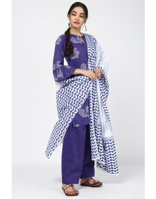 White & Blue Peacock Dupatta