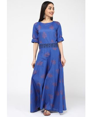 Blue Flower Printed Dress Set