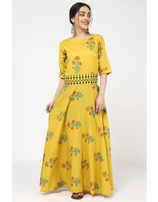 Spray Yellow & Green Printed Dress Set