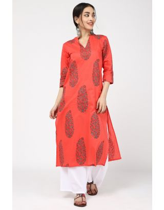 Pink Scale Cotton Kurta