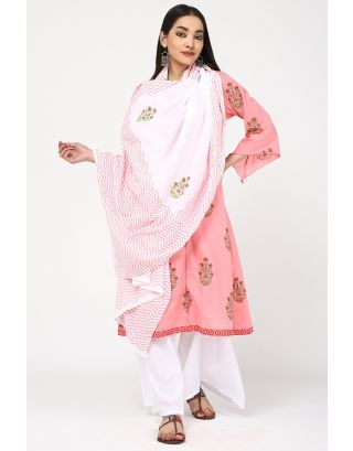 White and Pink Printed Cotton Dupatta