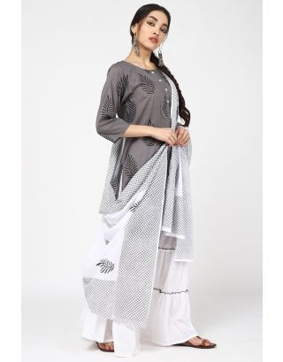 Grey & White Petal Sharara Set