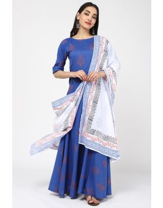 White & Blue Flower Printed Dupatta