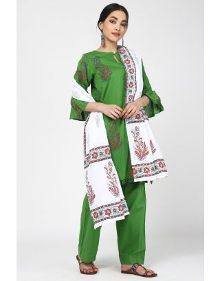 Lime Green Cotton Printed Suit Set