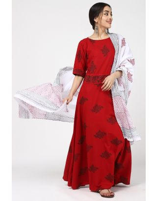 Red Cotton Leaf Printed Dress Set