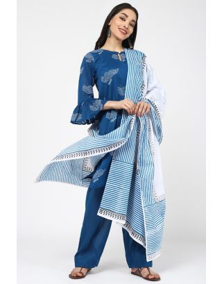 Blue Cotton Bird Printed Dupatta
