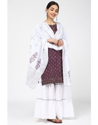 White & Wine Printed Dupatta