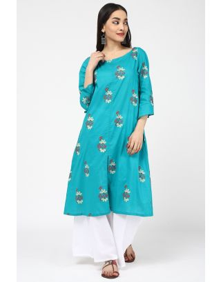 Teal Blue Printed Kurta