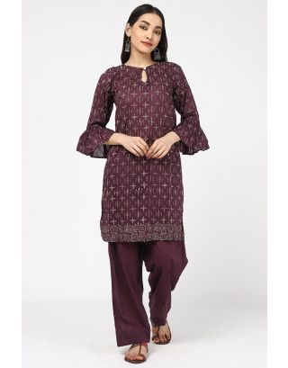Brown Sky Cotton Printed Kurta