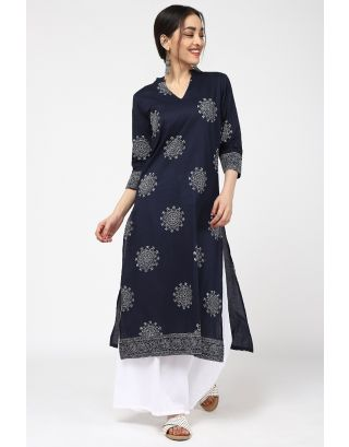 Dark Blue Flower Printed Kurta