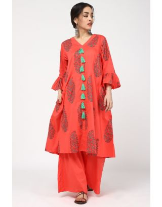 Red Herb Printed Kurta